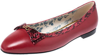Gucci Red Leather And Python Trim GG Logo Bow Ballet Flats Size 39.5