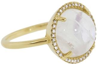 Irene Neuwirth 18kt Yellow Gold Rainbow Moonstone Diamond Ring