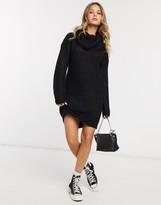 Brave Soul soda cowl neck sweater dress in black