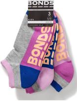 Bonds 3pk Logo Block Low Cut Socks