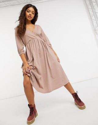 ASOS DESIGN midi smock dress with wrap top in mocha