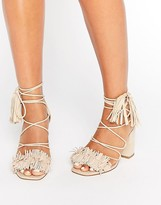 Asos TAMA Fringe Heeled Sandals