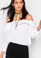 Missy Empire Clio Off The Shoulder Ruffle Blouse