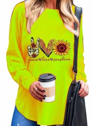 FOBEXISS Women's Scissorhands Heart Sunflower Print T-Shirt Classic Fashion Soft Round Neck Long Sleeve Ladies Tees Blouses Tops Orange