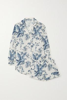Desmond & Dempsey Signature Printed Organic Cotton-voile Pajama Set - Cream