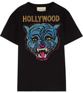 Gucci Appliquéd Cotton-jersey T-shirt - Black
