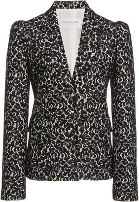 Michael Kors Puffed-Sleeve Lace Blazer