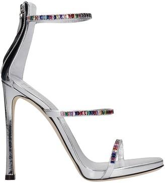 Giuseppe Zanotti Sandals In Silver Leather