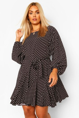 boohoo Plus Polka Dot Blouson Sleeve Skater Dress