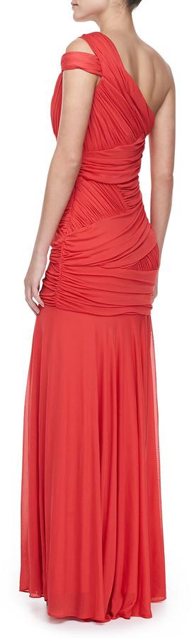 Halston One-Shoulder Bodice Gown, Vermillion
