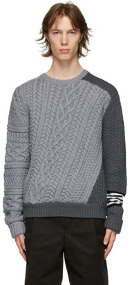 Neil Barrett Grey Wool Cable Contrast Sweater