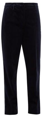 Golden Goose Cropped Velvet Trousers - Womens - Navy