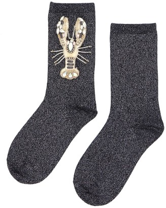 Laines London Black&Silver Glitter Socks With Crystal Lobster Brooch