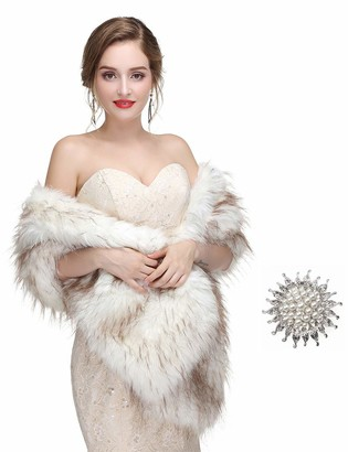 Anglacesmade Bridal Faux Fur Wrap Wedding Fur Stole with Brooch Evening Party Warm Shrug Capeug Cape (White and Brown)