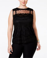 INC International Concepts Plus Size Lace Illusion Blouse, Only at Macy's