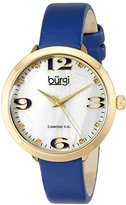 Burgi Women's BUR119BU Diamond Accented Mother-of-Pearl Yellow Gold & Blue Leather Strap Watch