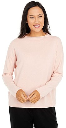 Eileen Fisher Cashmere Funnel Neck Box Top (Blush) Women's Clothing