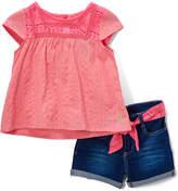 U.S. Polo Assn. Neon Light Pink Babydoll Top & Denim Shorts - Girls