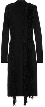 David Koma Fringed Ribbed-knit Midi Dress
