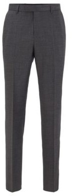 HUGO BOSS Regular Fit Pants In Stretch Wool With Mini Check - Light Grey