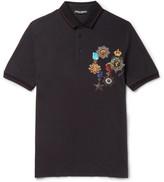 Dolce & Gabbana Contrast-tipped Printed Cotton-piqué Polo Shirt - Black