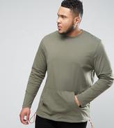 Asos PLUS Longline Long Sleeve T-Shirt With Kangaroo Pocket And Contrast Drawcord
