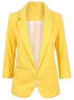 KAMA BRIDAL Women's Cotton Rolled Up Sleeve No-Buckle Blazer Jacket Suits XXL