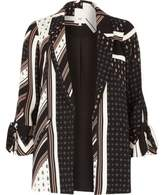 River Island Womens Black mix print tie cuff blazer