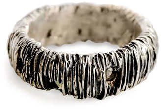 Be. Alice Chunky Arlecchino Ring In Sterling Silver & Sapphire With Sliced Texture