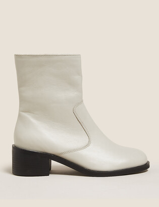 Marks and Spencer Leather Block Heel Ankle Boots