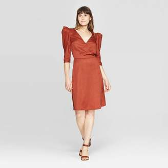 A New Day Women's Regular Fit Elbow Sleeve Deep V-Neck Midi Dress