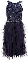 Xtraordinary Big Girls 7-16 Glitter Lace-To-Tulle Fit-And-Flare Dress