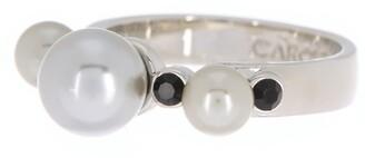 Carolee Triple Imitation Pearl & Jet Stone Ring - Size 7