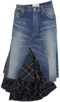 Junya Watanabe Asymmetric Denim And Tartan Wool Midi Skirt - Mid denim