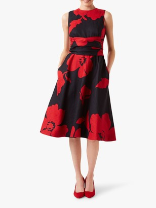 Hobbs Linen Twitchill Dress, Navy/Red