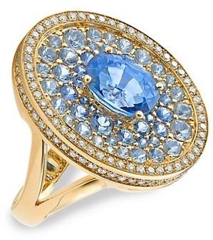 Robinson Pelham Asteroid 18K Yellow Gold, Blue Sapphire & Diamond Cocktail Ring