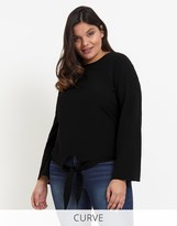 Glamorous Curve Tie Front Detail Top