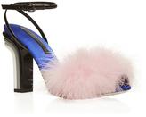 Marco De Vincenzo Pink Feather Top Sandal