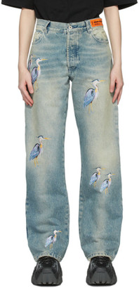 Heron Preston Blue Regular Embroidered Jeans