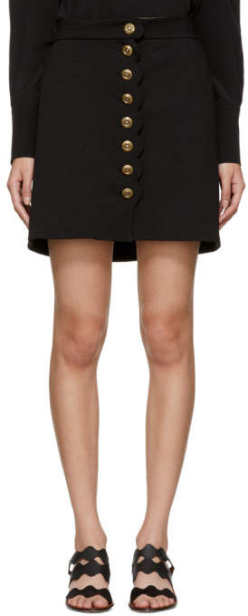 Chloé Black Gold Buttons Miniskirt