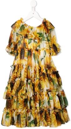 Dolce & Gabbana Kids Sunflower-Print Ruffled Long Dress