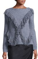 Rebecca Taylor Fringed Wool Blend Pullover