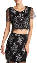 Lovers + Friends Affair Scalloped Lace Cropped Blouse