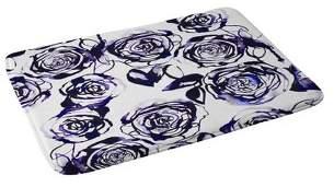"""Deny Designs 24"""" x 36"""" Inky Roses Bath Rug Blue"""