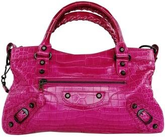Balenciaga First Pink Crocodile Handbags