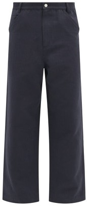 Raey Wide-leg Cotton And Linen-blend Trousers - Mens - Navy