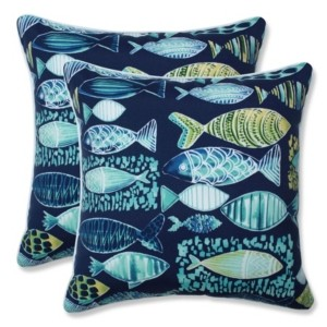 """Pillow Perfect Hooked 18"""" x 18"""" Outdoor Decorative Pillow 2-Pack"""