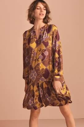 Next Womens Yellow Print Tiered Dress - Yellow