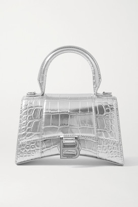 Balenciaga Hourglass Xs Metallic Croc-effect Leather Tote - Silver