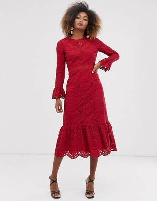 Asos Design DESIGN PREMIUM broderie maxi dress with pep hem and fluted sleeves-Red